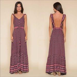 Anthropologie Raga Avah Ruffle Strap Maxi Dress M